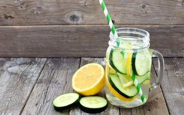 вода, напиток, лимон, detox, огурец, лимонад, mason