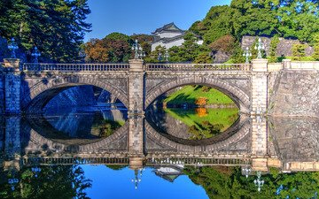water, reflection, bridge, japan, palace, tokyo, ditch, nijubashi bridge, imperial palace, bridge nijubashi