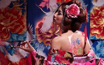 цветы, стиль, тату, спина, трубка, кимоно, японка, азиатка, гейша