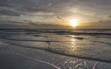 облака, восход, солнце, пейзаж, море, ландшафт, на природе