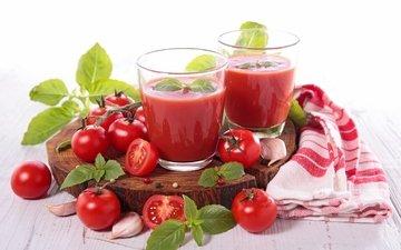 мята, напитки, полотенце, помидоры, чеснок, сок, специи, помидорами
