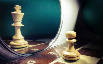 reflection, chess, mirror, queen, pawn