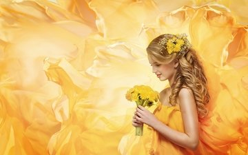 flowers, dress, blonde, dandelions, yellow