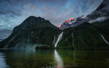 небо, озеро, горы, водопад, новая зеландия, боуэн, bowen falls