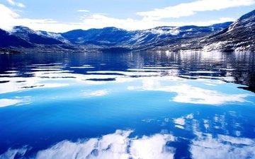 небо, облака, озеро, горы, снег, лёд, гренландия, фьорды