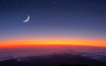 небо, земля, космос, звезды, луна, вселенная
