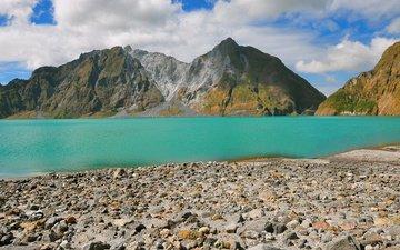 небо, озеро, горы, камни, берег, филиппины