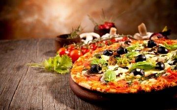 грибы, сыр, помидоры, оливки, пицца, брынза, помидорами, быстрое питание, боровики