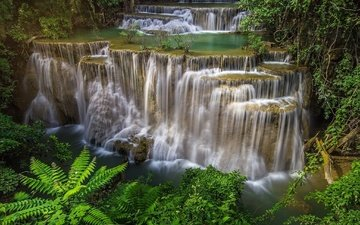 река, природа, водопад, таиланд, джунгли, каскады, водопад хуай мае камин, провинция канчанабури
