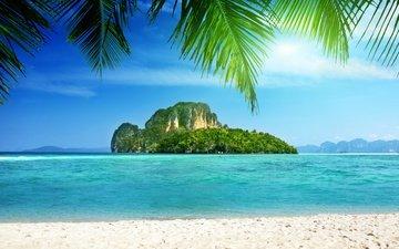 скалы, море, побережье, пальма, остров, скал, тропики, пальмовые деревья, тропическая, берегов, на море, остров в океане, the island