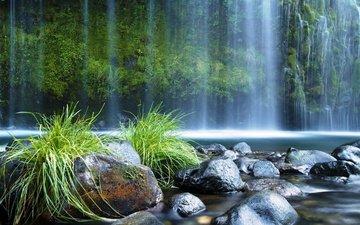 трава, деревья, природа, водопад, водопады, валуны