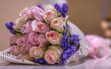 цветы, лаванда, розы, букет, розовые