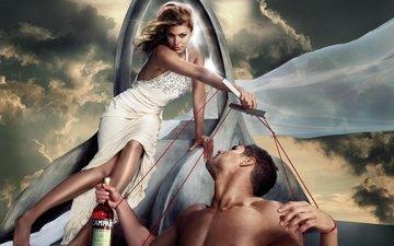 the sky, girl, dress, guy, actress, bottle, eva mendes