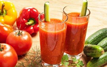 коктейль, напитки, овощи, помидоры, перец, помидорами