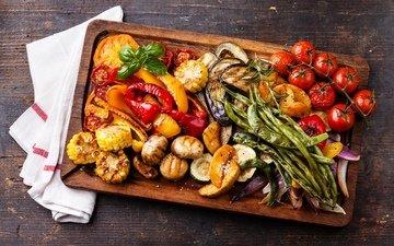 кукуруза, овощи, помидоры, помидор, баклажаны, перец, запеченная, запеченные