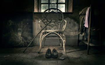 picture, chair, shoes, cane, solitude