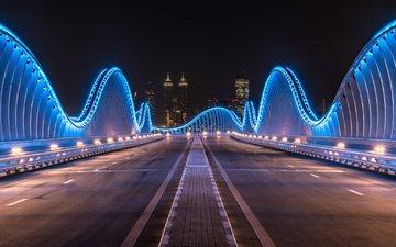 ночь, огни, города, город, дубаи, дубай, оаэ, ноч, meydan bridge, мост мейдан