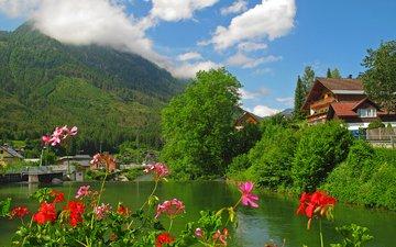 цветы, облака, деревья, озеро, горы, лес, кусты, австрия, дома, курорт, бад-аусзе