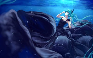 art, girl, dress, anime, under water, vocaloid, sombernight, hatsune miku