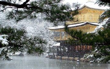 деревья, озеро, снег, ветви, пагода, япония, киото