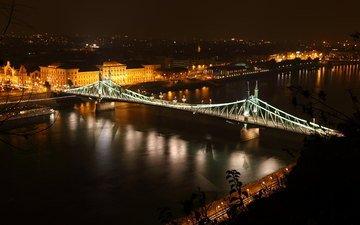 ночь, огни, река, венгрия, будапешт, дунай, мост свободы