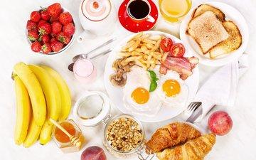 клубника, кофе, грибы, завтрак, мед, помидоры, бананы, сок, круассаны, яичница, тосты, помидорами, бекон, baking, яицо