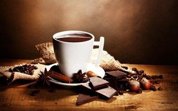 орехи, корица, зерна, кофе, напитки, шоколад, в шоколаде, бадьян