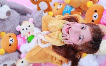 радость, лицо, игрушки, азиатка, смех