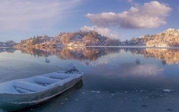 озеро, зима, лодка, норвегия, норвегии, ругаланн, egersund, rogaland county, эйгерсунн