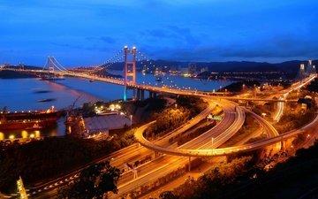 ночь, мост, город, дороги, гон-конг, гонконг, цинма