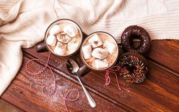 кофе, сладости, напитки, сладкое, чашки, выпечка, кубок, кулич, маршмеллоу