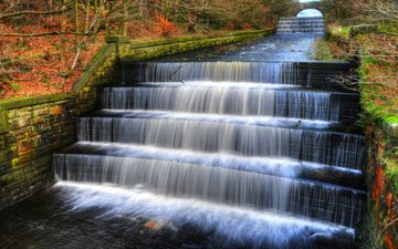 лестница, парк, водопад, осень, англия, валли, парки, водопады, тысячелистник