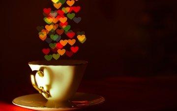 чашка, чай, сердечки, кубок