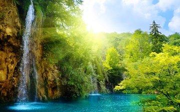 свет, деревья, солнце, лес, водопад