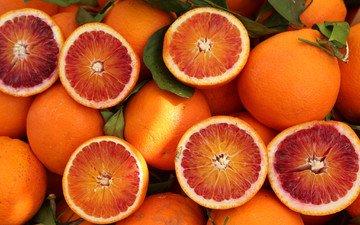 фрукты, апельсины, цитрусы, половинки