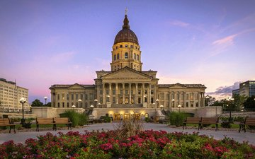 фонари, вечер, сша, скамейка, дворец, капитолий, петуния, state capitol, канзас