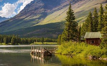 небо, деревья, озеро, горы, мостик, сша, домик, монтана, национальный парк глейшер, hike lake