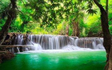 деревья, река, природа, водопад, таиланд, джунгли, каскад
