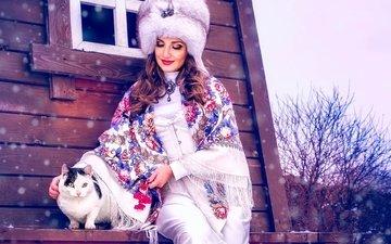 снег, зима, стиль, девушка, кот, кошка, дом, шапка, макияж, меха, платок, этно, меховая шапка