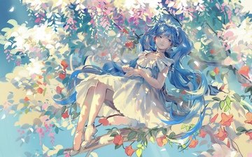 flowers, art, tree, girl, smile, petals, anime, vocaloid, rrr★, hatsune miku
