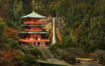 горы, парк, водопад, осень, пагода, япония, здание, ступени