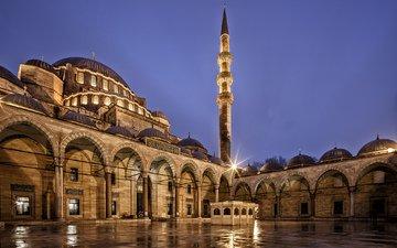 небо, ночь, города, город, архитектура, турция, синее, освещение, стамбул, индейка, мечеть сулеймание