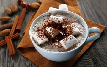 корица, кофе, напитки, шоколад, молоко, в шоколаде, ваниль, маршмеллоу, молока