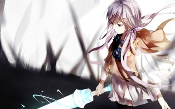 art, girl, weapons, sword, anime, vocaloid, magic, xin hua