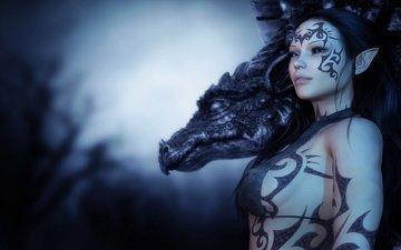 рисунок, девушка, дракон, татуировки, эльф, знаки