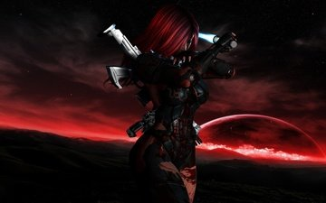 girl, weapons, stars, planet, blood, costume