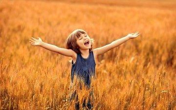 поле, лето, радость, девочка, пшеница, счастье, детство, восторг