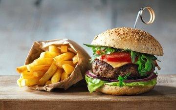 котлета, начинка, булочки, чизбургер, фаст-фуд, картошка фри