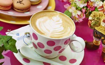 рисунок, кофе, чашка, пирожные
