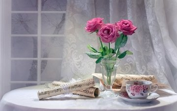 цветы, розы, ноты, окно, чашка, чай, натюрморт